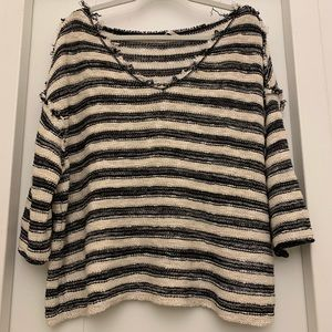 Free People 3/4 Striped Sweater Tee